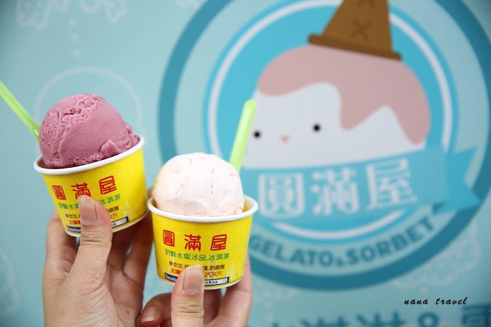 台中北區》圓滿屋新鮮水果冰淇淋。一中街超隱秘純手作義式水果冰淇淋,低脂.低糖.無負擔,一吃成主顧。