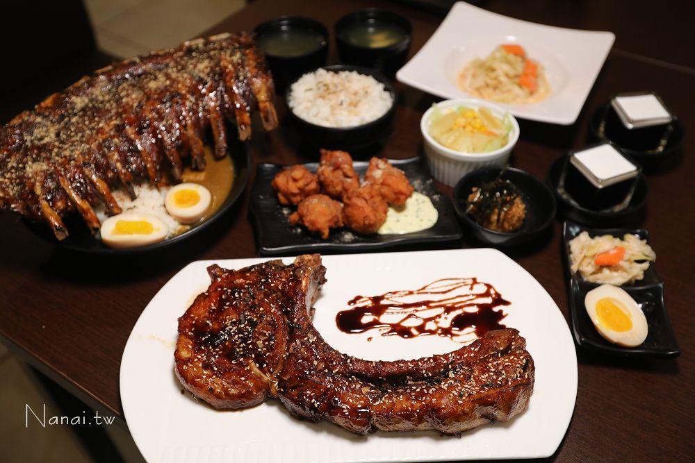 彰化秀水》ㄨ麻尹日式蓋飯(彰水店)。限量戰斧豬排如斧頭般碩大,誇張到連碗都放不下