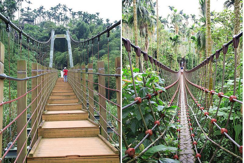 雲林華山景點》華山小天梯(華山溪吊橋)/華山情人吊橋。一次僅能二人通過的情人吊橋,仿佛穿梭叢林。