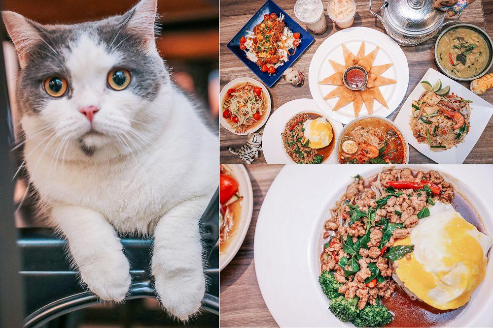 員林》泰之飲泰式家鄉菜。百元就能吃到泰式料理!爆萌3隻貓店長坐檯陪你玩;泰國人好手藝,打拋豬肉飯,月亮蝦餅,摩摩喳喳,泰夠味